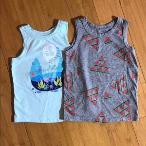lot of 2 Cat & Jack graphic tank tops 2T
